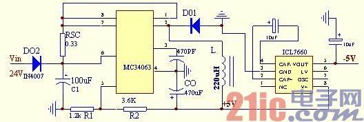 经过mc34063电压可以转换为 5v,而后,该电压又经过icl7660变成-5v电压